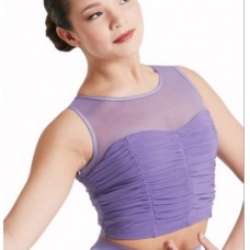 Shirred Mesh Crop Top