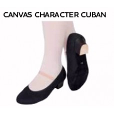 Canvas Character Shoe with Cuban Heel